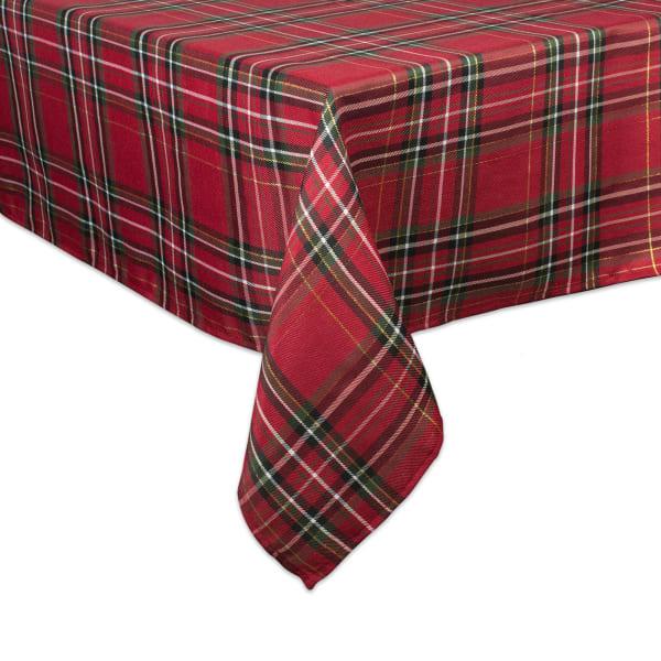 Holiday Metallic Plaid Tablecloth 60x104