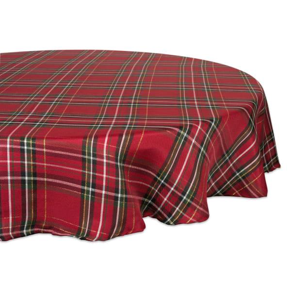 Holiday Metallic Plaid Tablecloth 70 Round