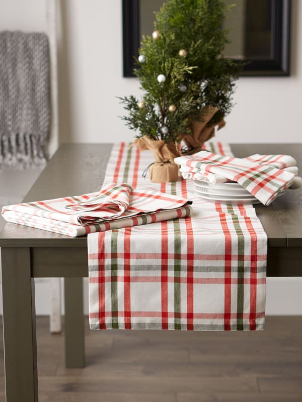 Kitchen & Tabletop Jolly Tree Collection Table Runner, Nutcracker Plaid, 14x108