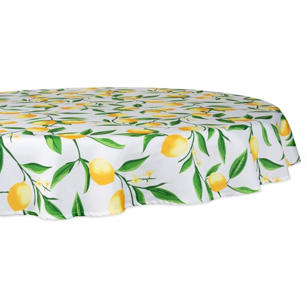 Round Lemon Bliss Print Outdoor Tablecloth