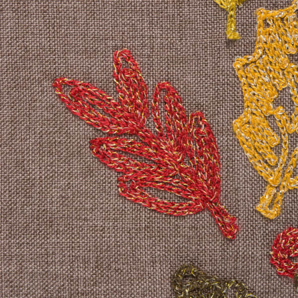 Shimmering Leaves Table Embroidered Runner