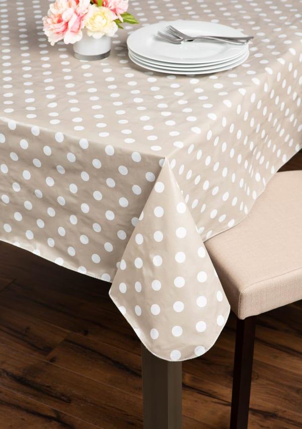 J&M Natural Polka Dot Vinyl Tablecloth 60x84