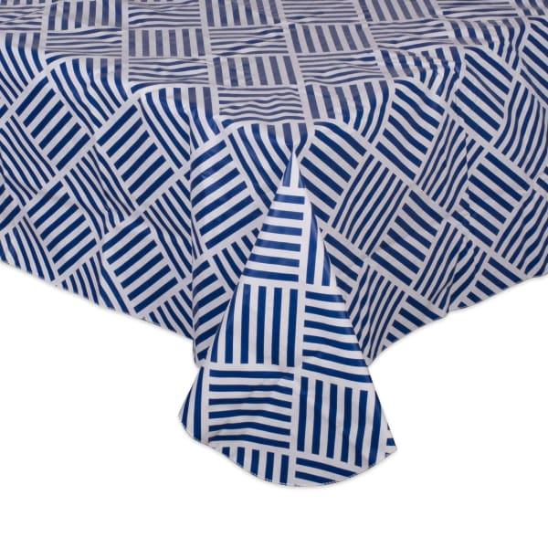 Navy Grid Vinyl Tablecloth 60x102