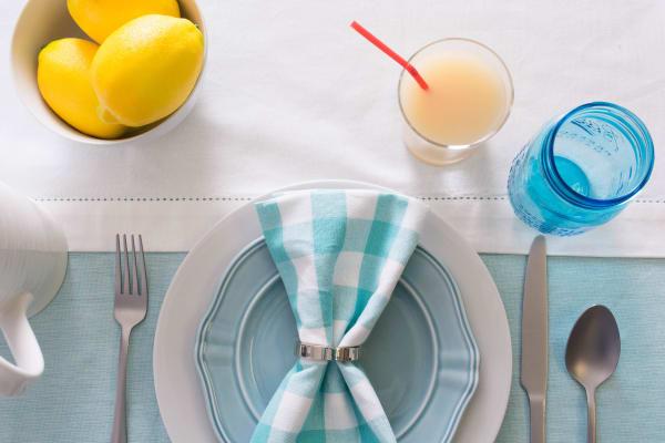 Aqua Solid Chambray Tablecloth 60x84