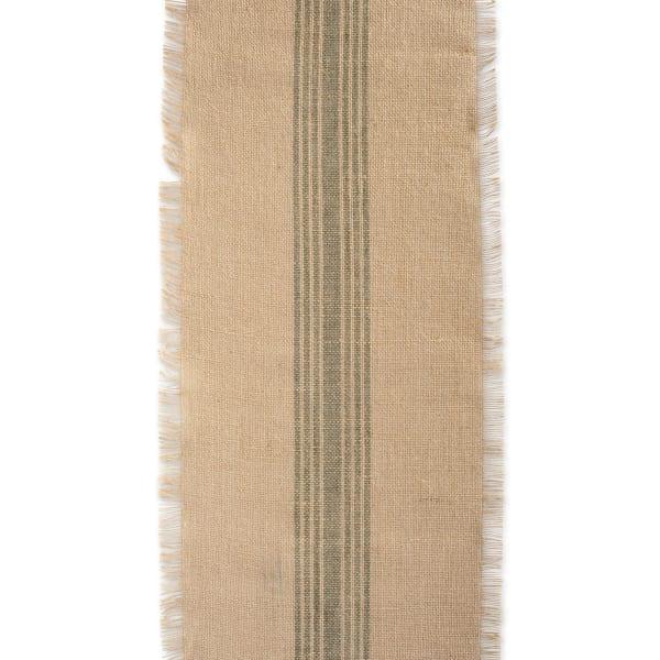 Artichoke Middle Stripe Burlap Table Runner 14