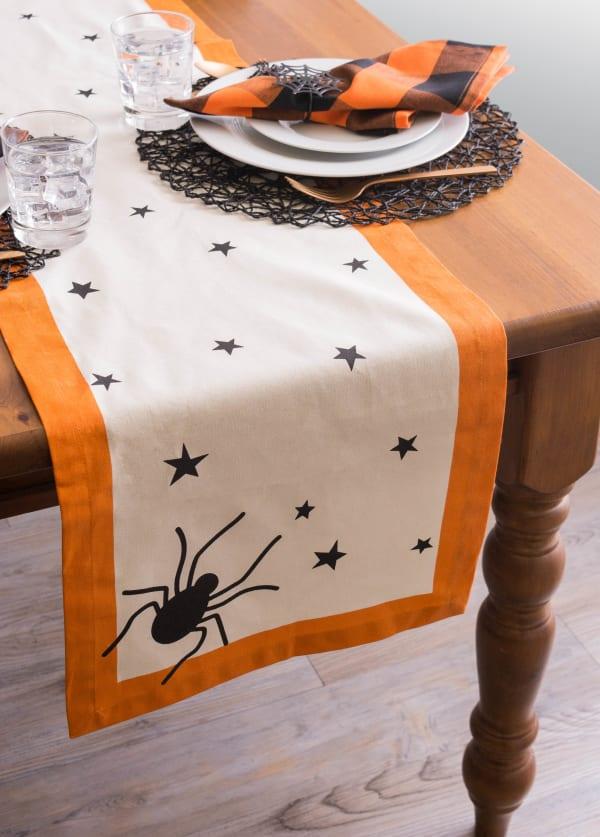 Black Stars Print Table Runner 14x108