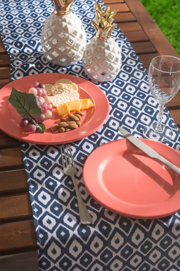 Blue Ikat Outdoor Table Runner 14x72