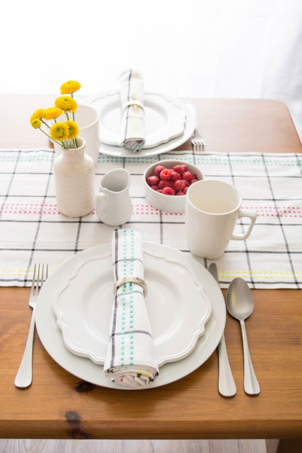 Color Pop Plaid Table Runner 14x108