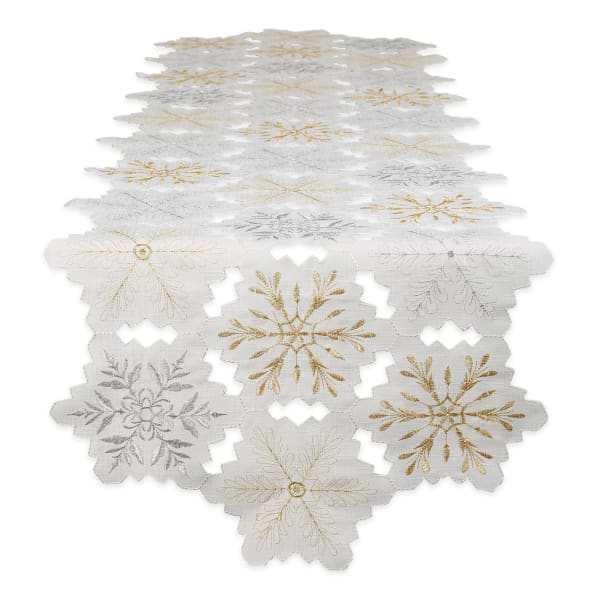 Embroidered Snowflakes Table Runner