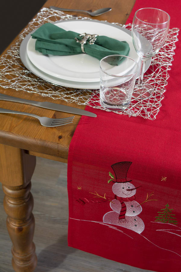 Embroidered Snowman Table Runner