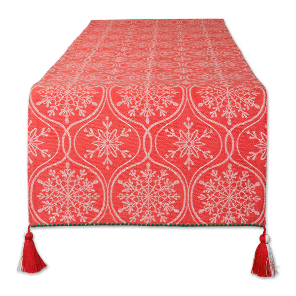 Joyful Snowflakes Jacquard Collection For Everyday Use, Holidays and Dinner Parties, Table Runner, 14x108