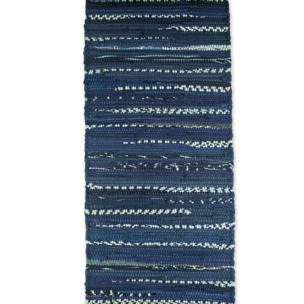 Multi Nautical Blue Chindi Rag Table Runner 14x72