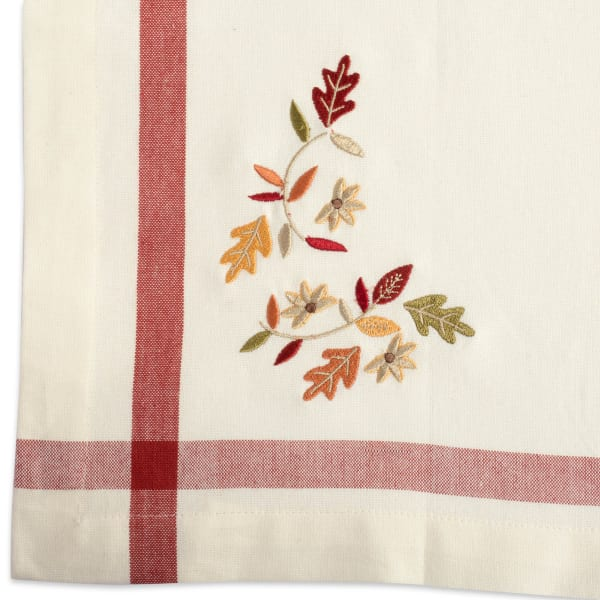 Natural Embroidered Fall Leaves Corner With Border Table Runner 14x72