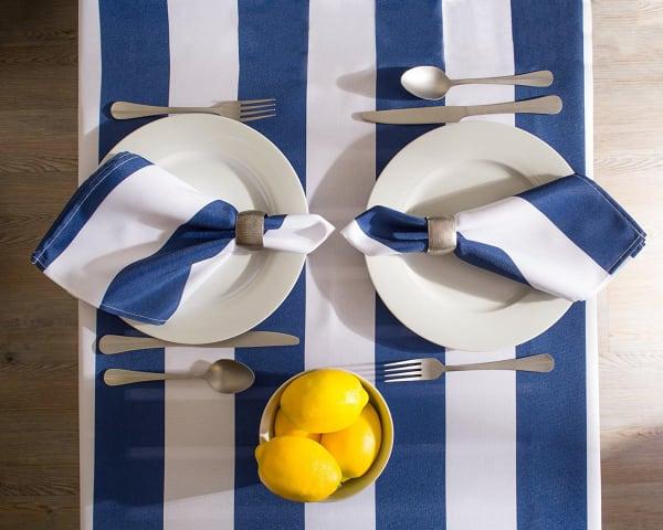 Nautical Blue Cabana Stripe Outdoor Tablecloth 60x84