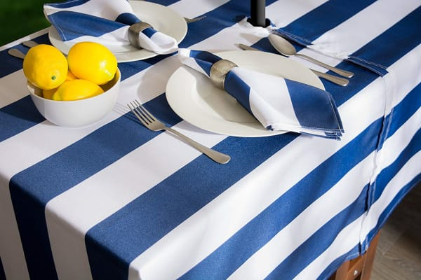 Nautical Blue Cabana Stripe Outdoor Tablecloth With Zipper 60 Round