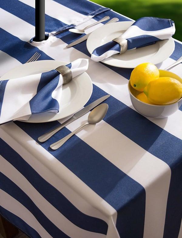 Nautical Blue Cabana Stripe Outdoor Tablecloth With Zipper 60x84