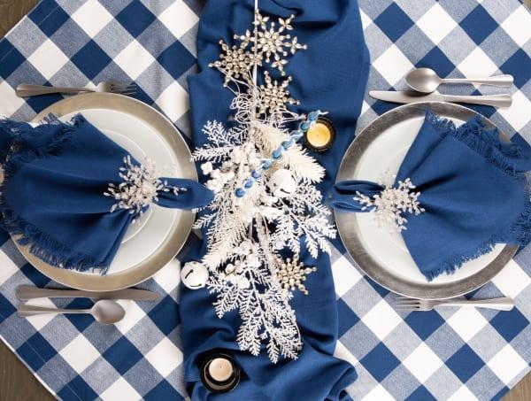 Navy Buffalo Check Tablecloth 60x104