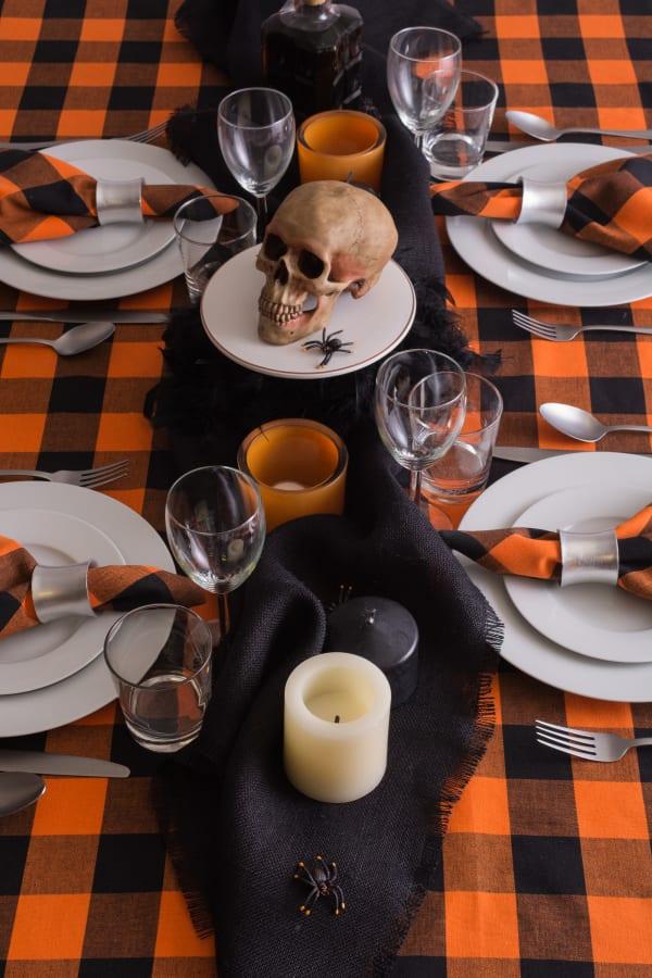 Orange Buffalo Check Tablecloth 52x52