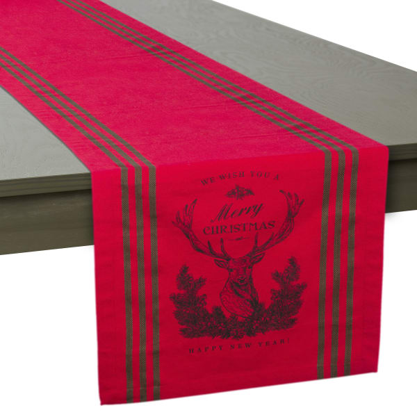 Red Stag Christmas Print Table Runner 14x108