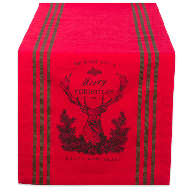 Red Stag Christmas Print Table Runner 14x72