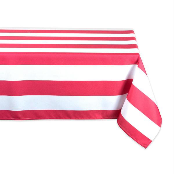 Coral Cabana Stripe Outdoor Tablecloth 60x120