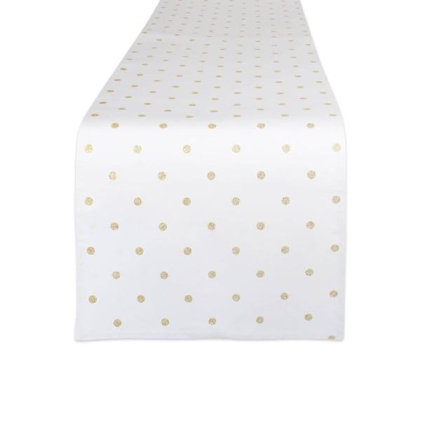 Metallic White/Gold Reversible Polka Dot Table Runner 13