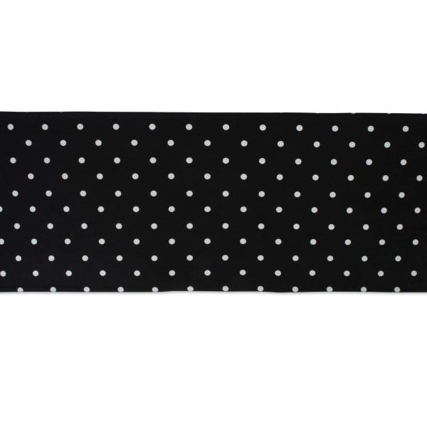 White/Black Reversible Polka Dot Table Runner 14x72