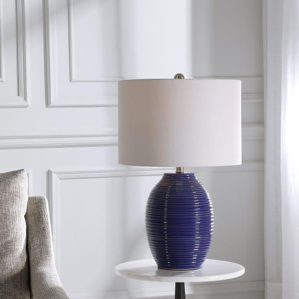 Ribbed Indigo Blue Lamp