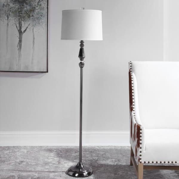 Elegant Black Nickel Floor Lamp with Shade