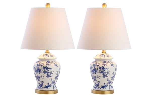 Chinoiserie Table Lamp, Blue/White (Set of 2)
