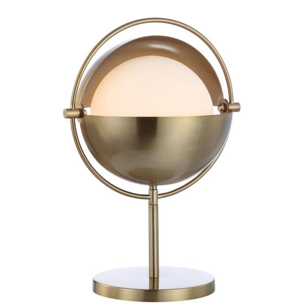 Iron/Glass Art Deco Mid-Century Globe Table Lamp, Brass Gold