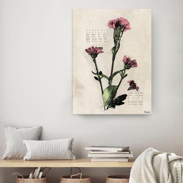 Poetic Flora IV Beige Canvas Floral Wall Art