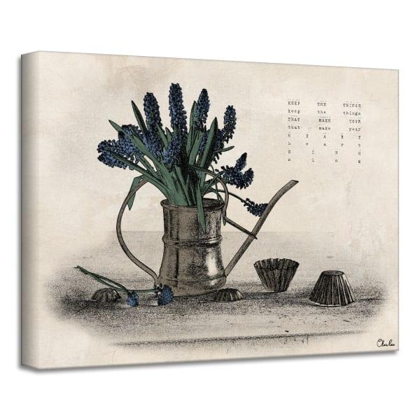 Poetic Flora XIe Beige Canvas Floral Wall Art