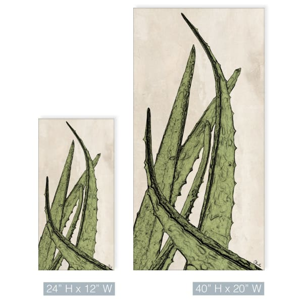 Poetic Flora XXXV Green Canvas Succulent Wall Art