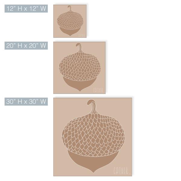 Minimal Acorn Fall Harvest Tan Canvas Wall Art
