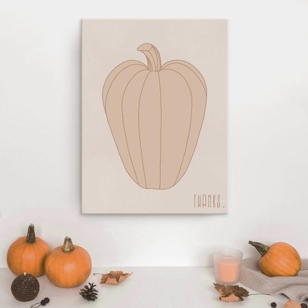 Minimal Pumpkin I Fall Harvest Beige Canvas Wall Art