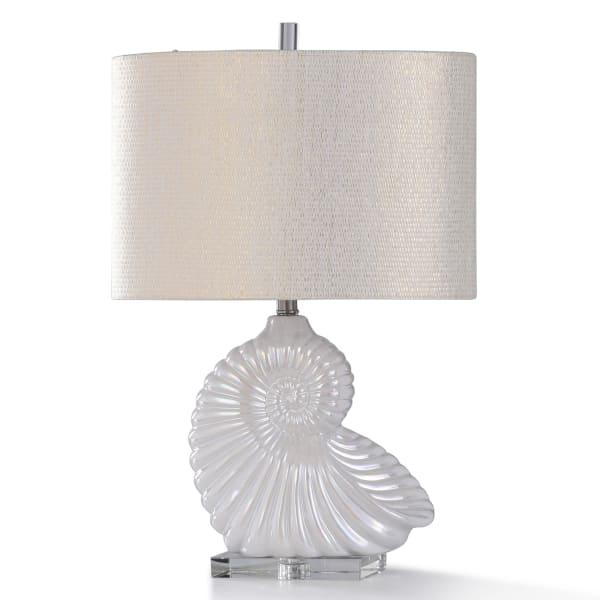 Clear Crystal & White Coastal Shape Ceramic Table Lamp