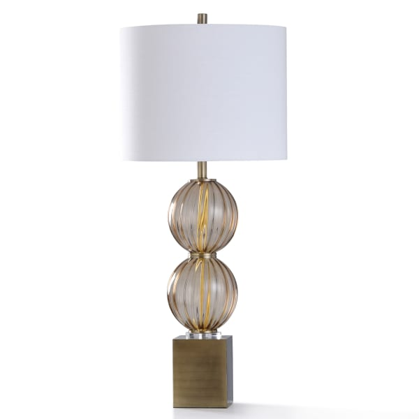 Colyton Amber Smoked Ribbed Glass With Clear Acrylic and Antiqued Brass Table Lamp