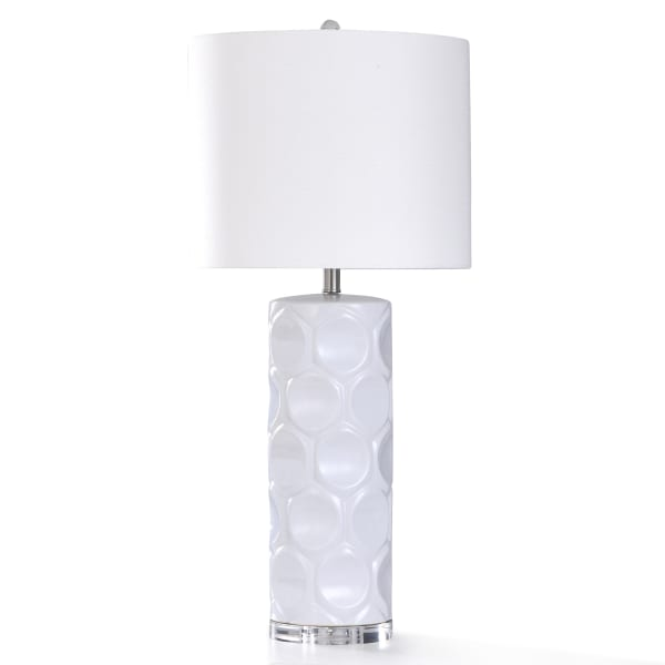 White Ceramic Base With Clear Crystal Table Lamp