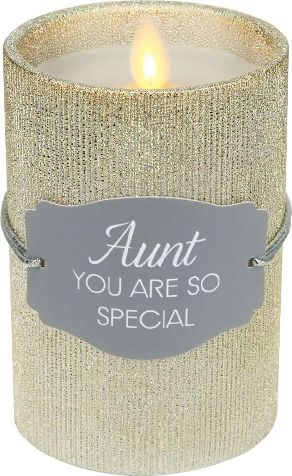 Aunt - Gold Glitter Realistic Flame Candle