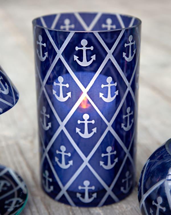 Blue Anchor - Jar Candle Holder