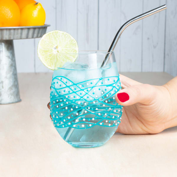 Teal Tangle - Hand Decorated Stemless Glass