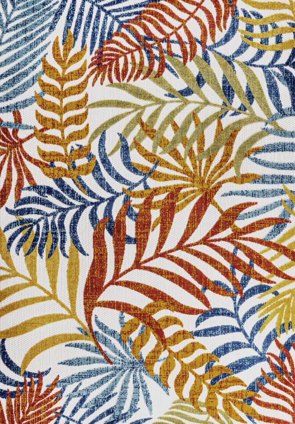 Tropics Palm Leaves Cream and Orange 7.75' x 10' Outdoor Area Rug