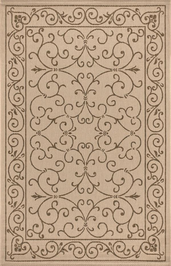 Vintage Filigree Textured Weave Beige and Brown 5.25' x 7.5' Outdoor Area Rug