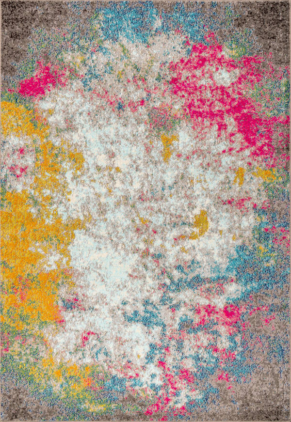 Contemporary Modern Abstract Multi Yellow Area Rug