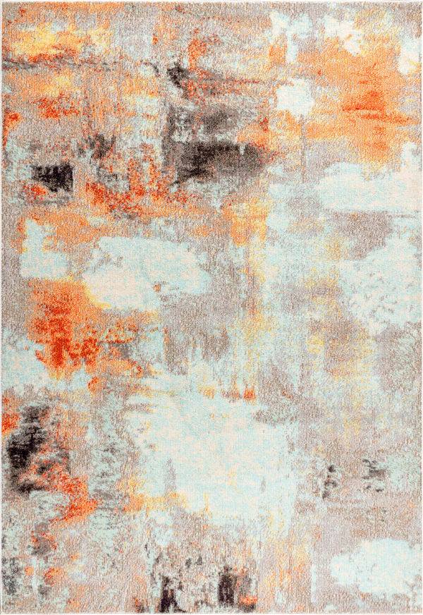 Contemporary POP Modern Abstract Vintage Cream/Orange 3' x 5' Area Rug