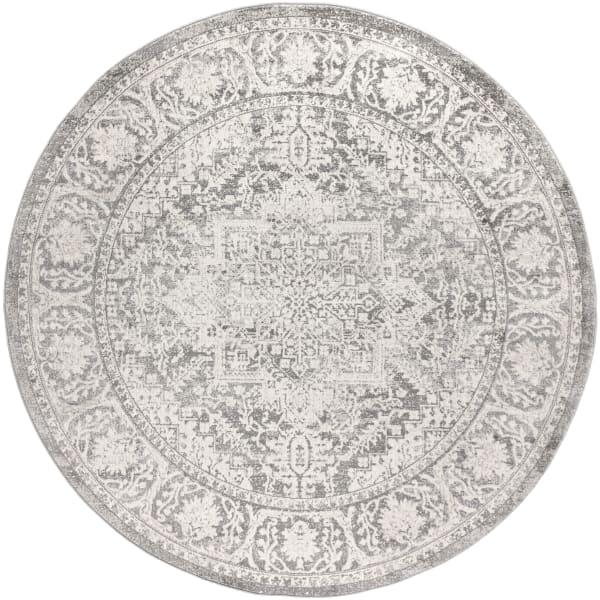 Modern Persian Vintage Medallion Light Grey 5' Round Area Rug