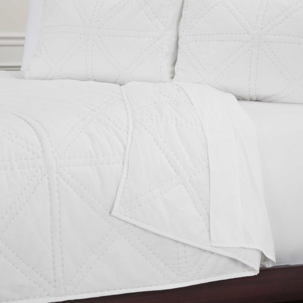 White 100% Cotton Solid Geometric 90