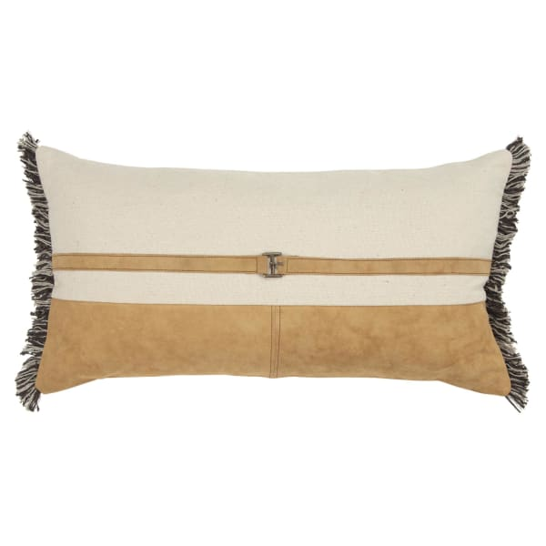 Color Block Tan/Natural Filled Pillow