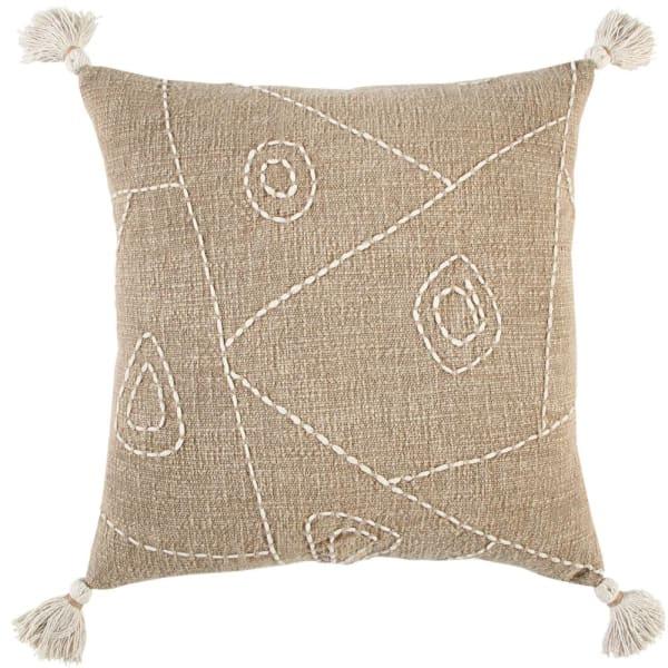 Hieroglyphics Tasseled Textured Khaki Filled Cotton Pillow